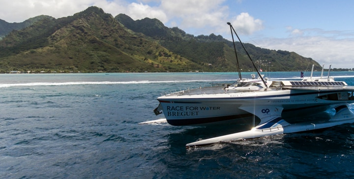 The Race for Water boat in front of Tahiti Island